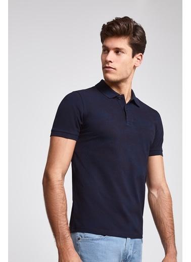 TWN Slim Fit Pike Dokulu T-Shirt Lacivert